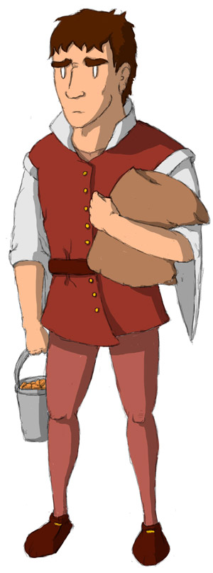 Serge portant un seau de nuggets et un sac de couscous.